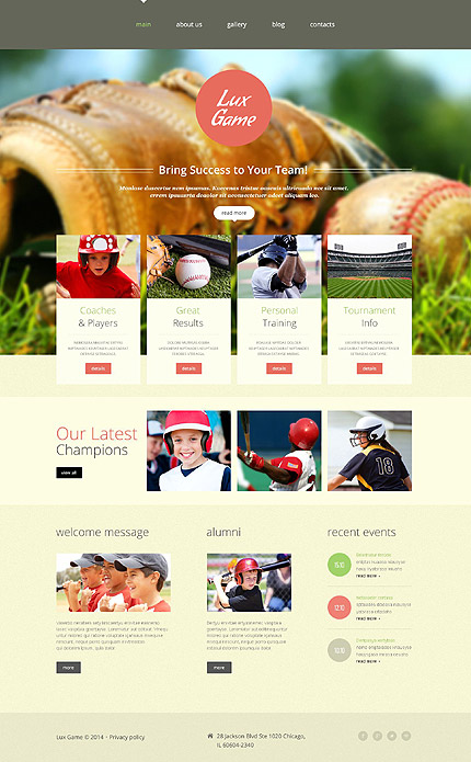 Template 52649 – Baseball Club Responsive Website Template with Gallery and Blog