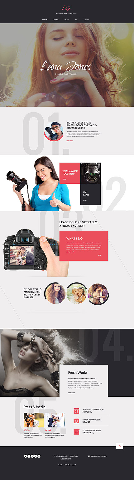 Template 54832 – Photographer Personal Page Responsive Drupal Template with Parallax, Lazy Load effect, Gallery and Blog