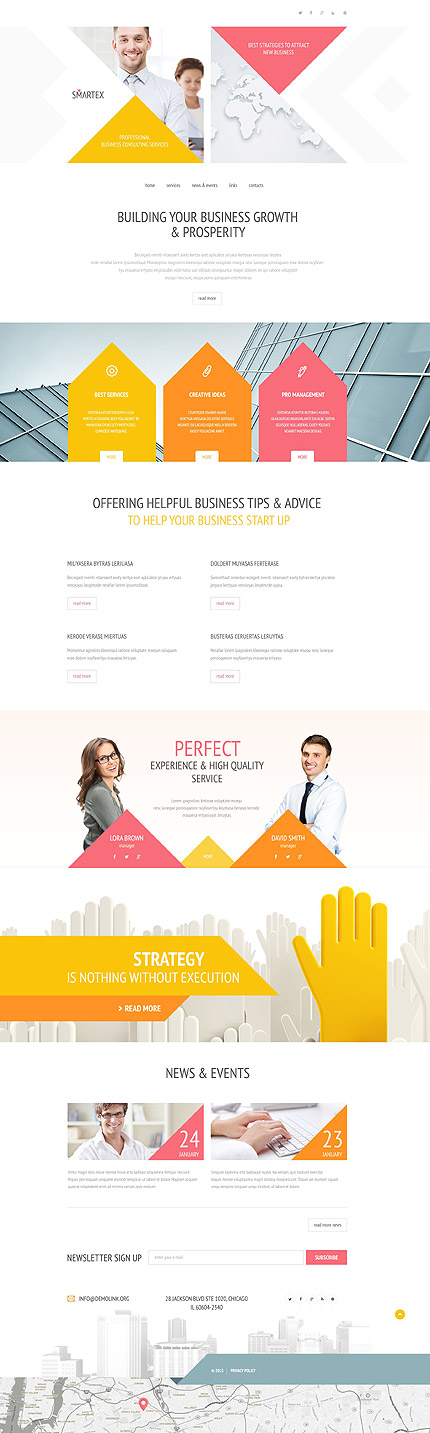 Template 54969 - Business Responsive Website Template with Touch-Friendly Geometric Design