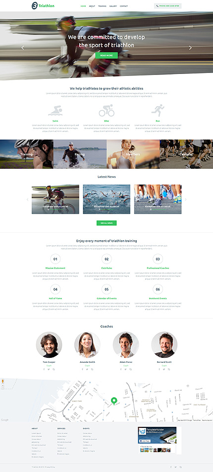 Template 54998 - Triathlon Club Responsive Website Template with Slider, Gallery and Carousel