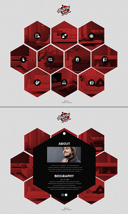 Template 45253 - Interior and Furniture JavaScript Based Website Template with Flipping Hexagons