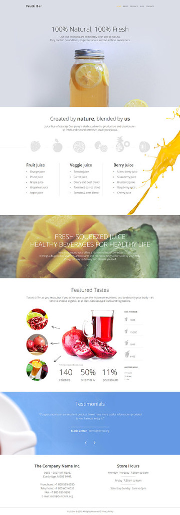 Template 55725 - Frutti Bar Responsive WordPress Theme
