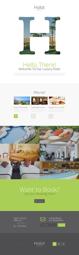 Template 57630 - Hotel Responsive Landing Page Template