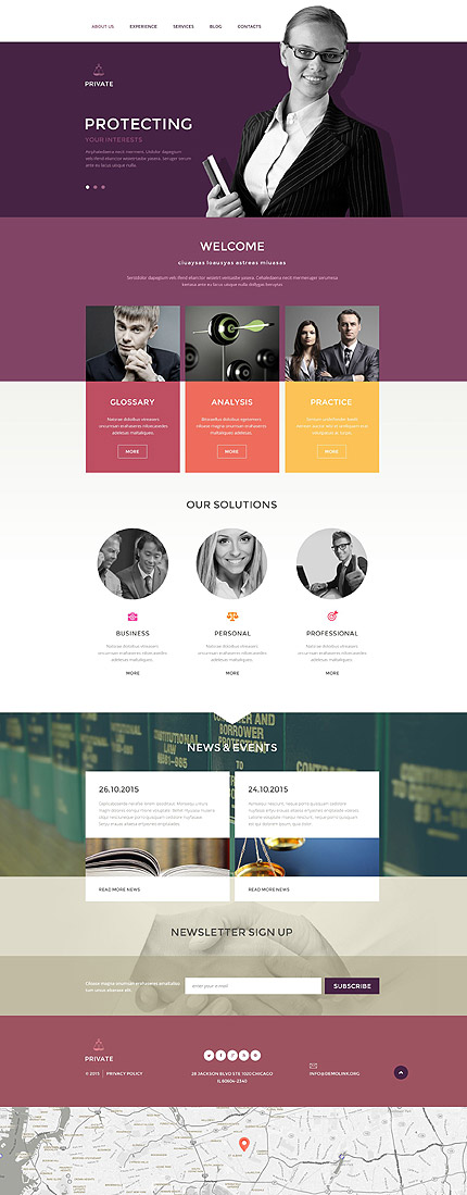 Template 54611 - Private Lawyers Responsive Drupal Templatewith Blog, Portfolio, Parallax, Lazy Load Effect, Slider
