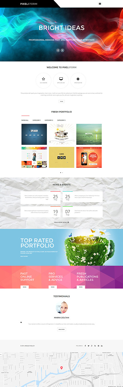 Template 55972 - Pixel Storm Responsive WordPress Theme with Blog, Portfolio