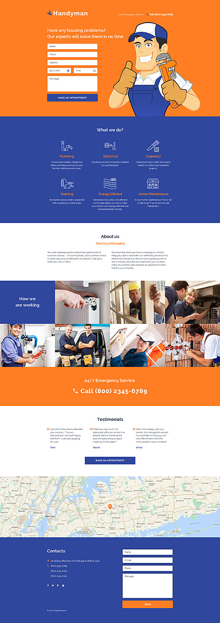 Template 58248 - Handyman Services Responsive Landing Page Template