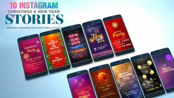 10 Instagram Christmas and New Year Animated Video Stories