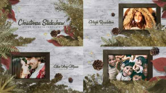 Christmas Slideshow Video Template with Pine Cones and Ferns Frame