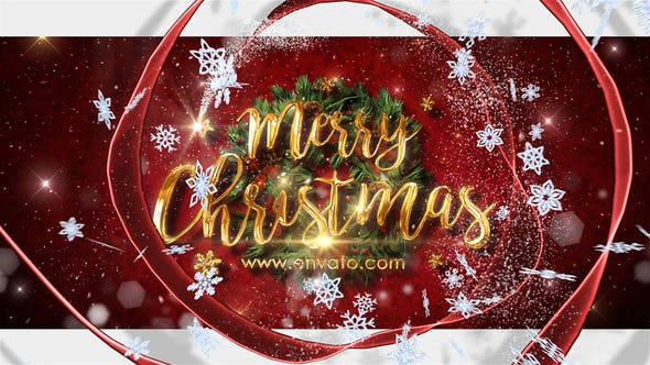 Christmas Wishes Video Animation - Red Ribbon with Snowflakes Opening Animation