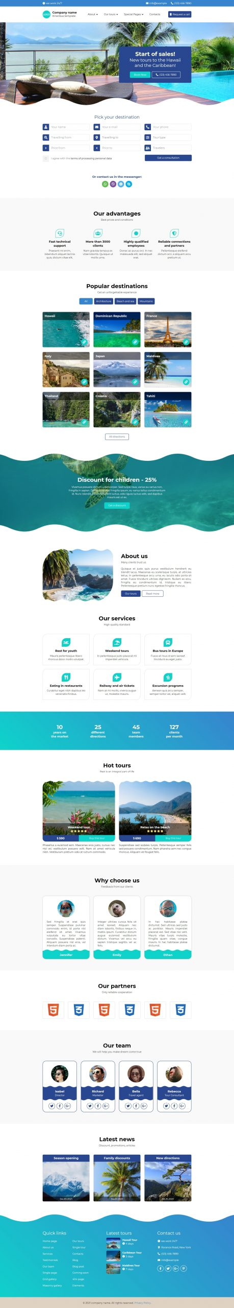 Itineribus - Tour, Travel & Travel Agency HTML5 Website Template