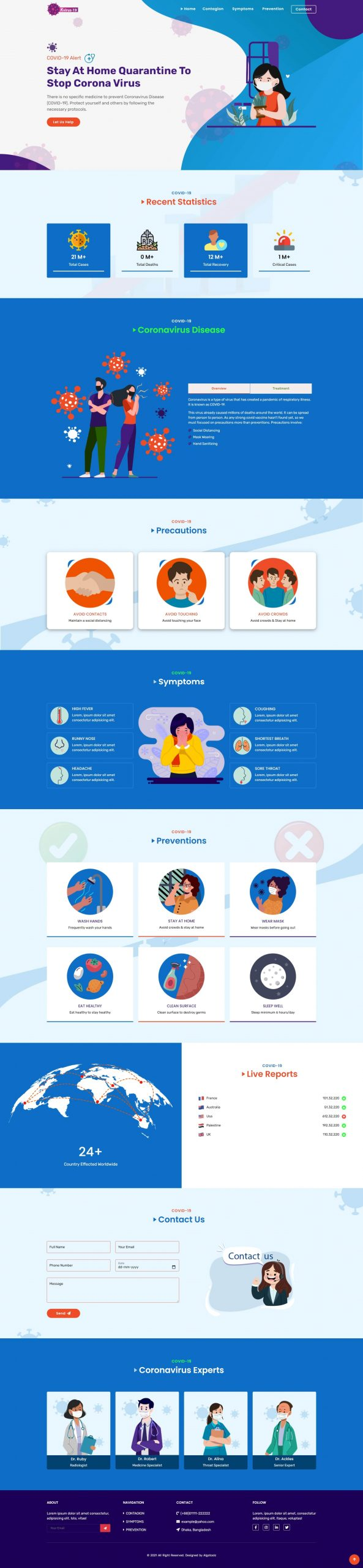 Kvirus19 - Medical & Healthcare Website Template - Illustrated Coronavirus Website Design With Animation Effects