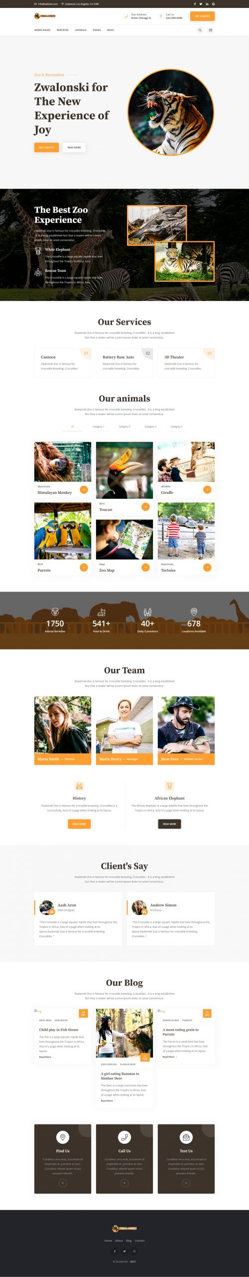 Zwalonski Animal Zoo HTML5 Website Template