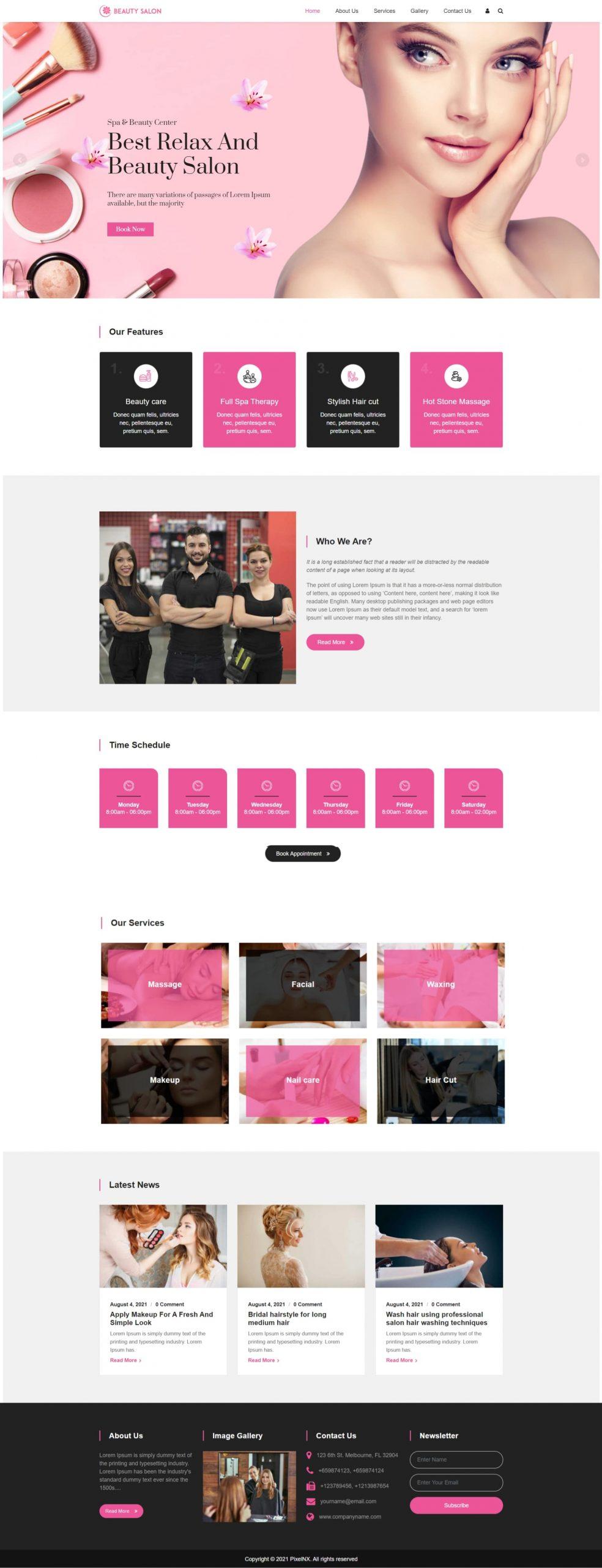 Beauty Salon Multipurpose WordPress Theme - Beautiful Animated Pink and Black Theme
