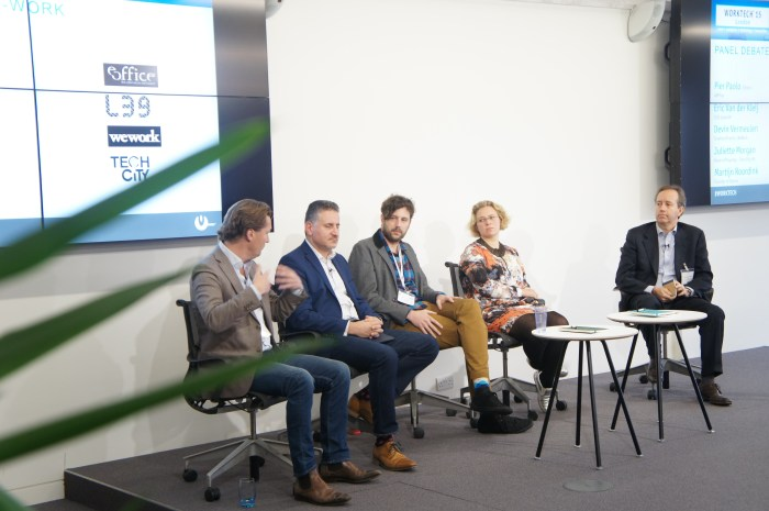 Pier Paolo Mucelli, Founder eOffice, chairing the Co-Work: Panel Debate with Eric Van der Kleij, Level39, Devin Vermeulen, WeWork, Juliette MorhanTech City UK, Martjin Roordink, Spaces