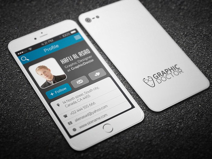 business card iphone-style