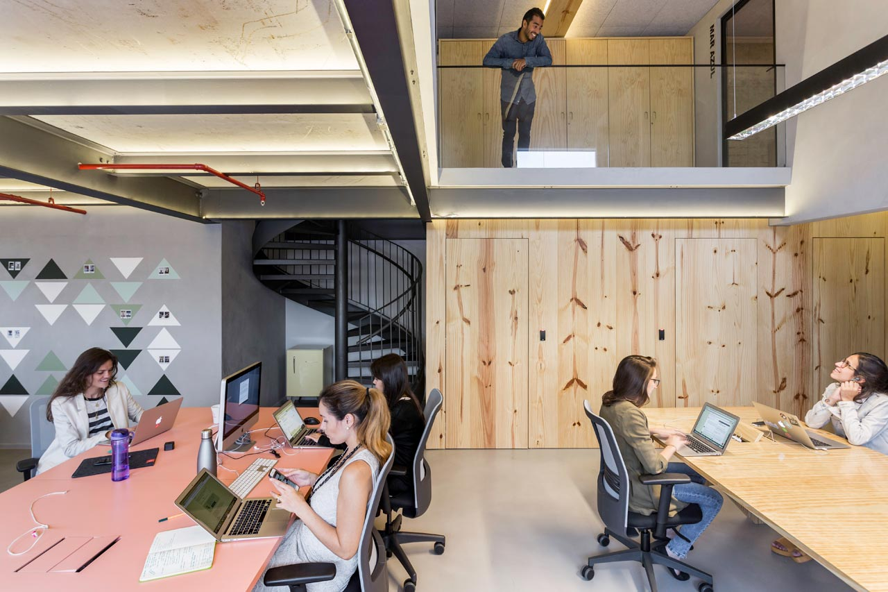 airbnb office. Kitchen To Boost Interaction And Gather Coworkers During Meals Other Times Throughout The Day. This Is Central Point Of Office As Airbnb