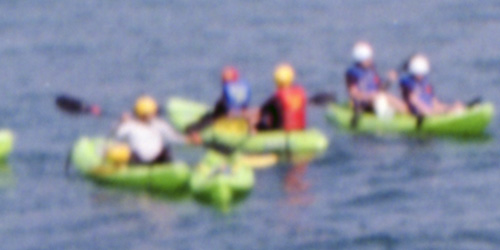 Kayakers at 100% Crop