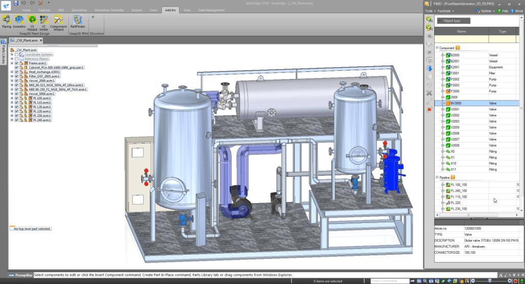 Solid Edge - csőhálózat tervező modul