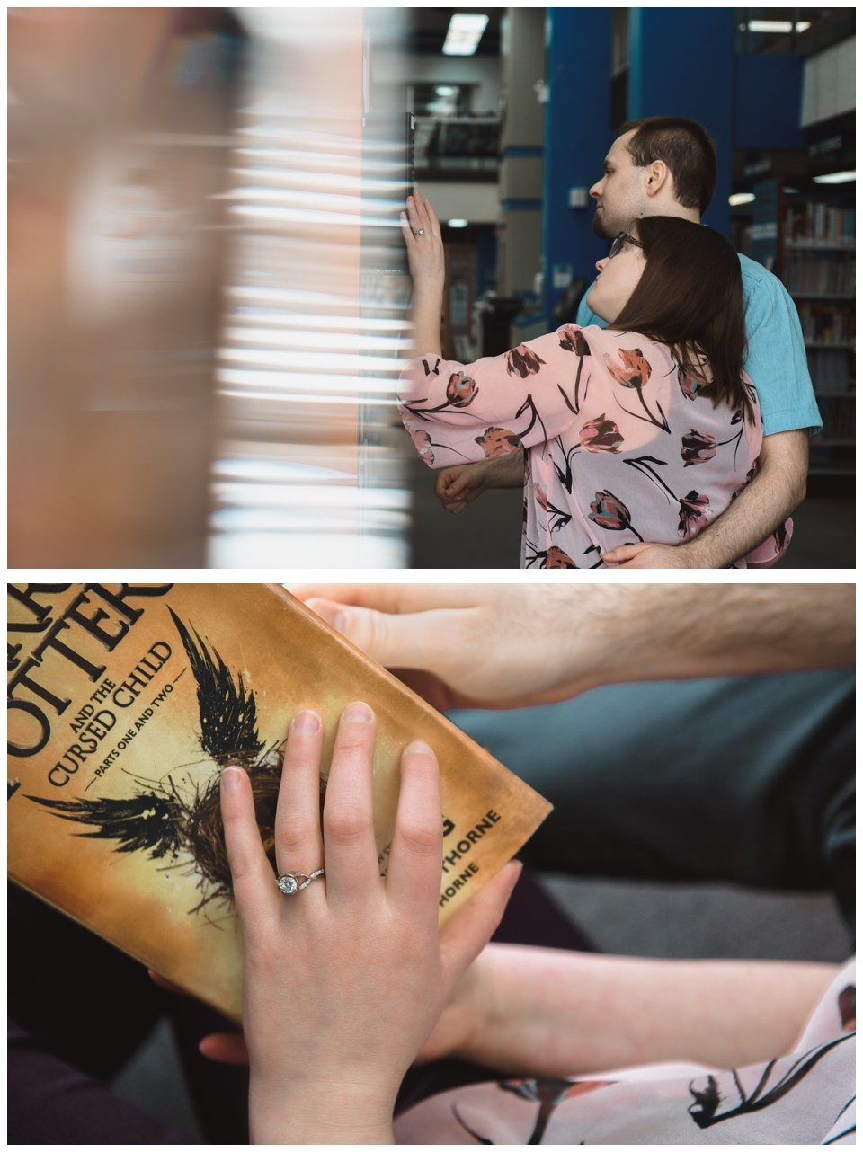 couple browsing books at cozy library engagement session