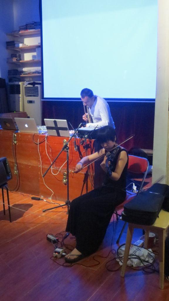 19 July 2013 Sheng Jie performing with Yannick Barman, at Zajia, Beijing