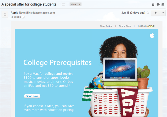 Apple back to school email
