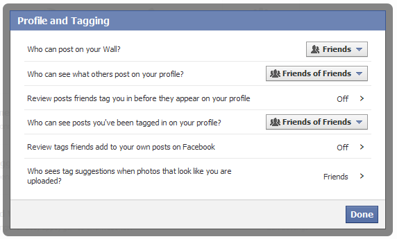 Facebook privacy in profiles and tagging