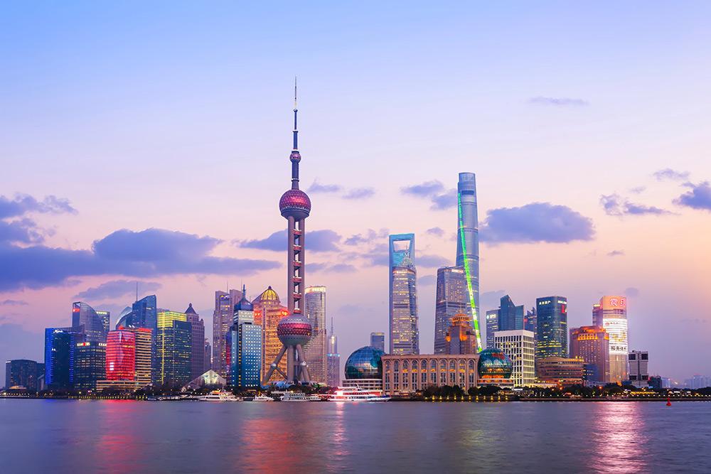 Shanghai skyline dusk