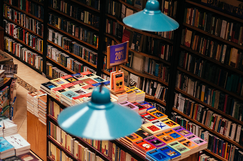 bookstore with colourful books