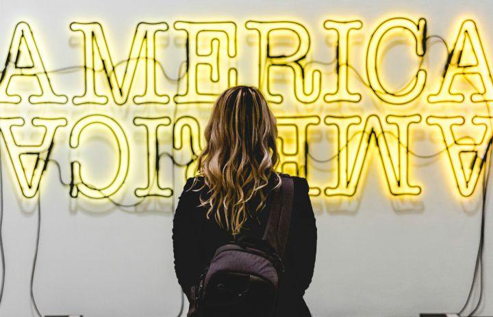 america sign girl backpack