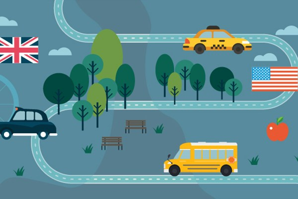illustration map London New York