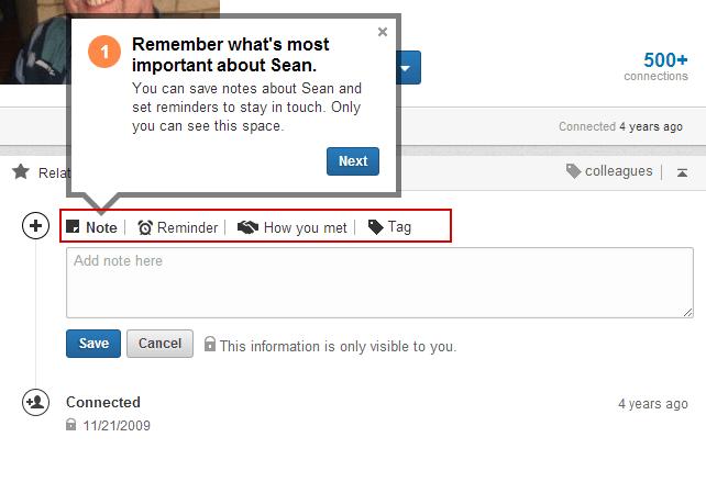 Linkedin Contact Save Notes,Reminders, Tag with Key words