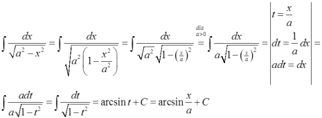 Przejście ze wzoru ogólnego na szczególny we wzorze z arcsin
