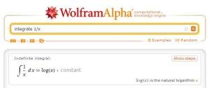 Wzór na całkę z 1/x w Wolframie
