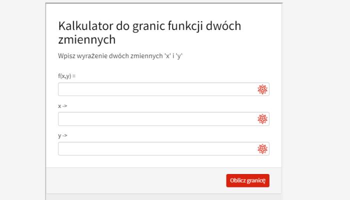 Kalkulator do granic funkcji dwóch zmiennych