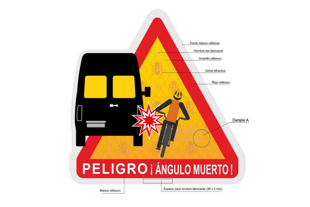 Distintivo de ángulos muertos en vehículos de transporte de pasajeros y mercancías