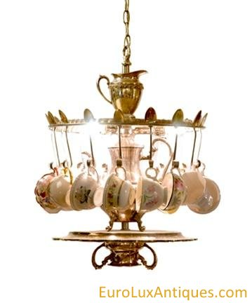 Upcycled Chandelier With Vintage Tea Cups Euroluxantiques