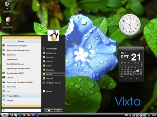 """Start menu under """"Linux Vixta"""""""