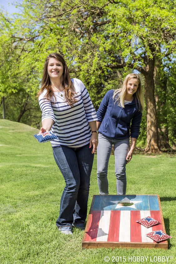 Party Games: Cornhole is perfect for small or large yards - especially to celebrate the 4th of July.