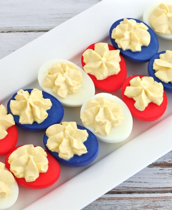 Red, white, and blue deviled eggs - Patriotic appetizers!
