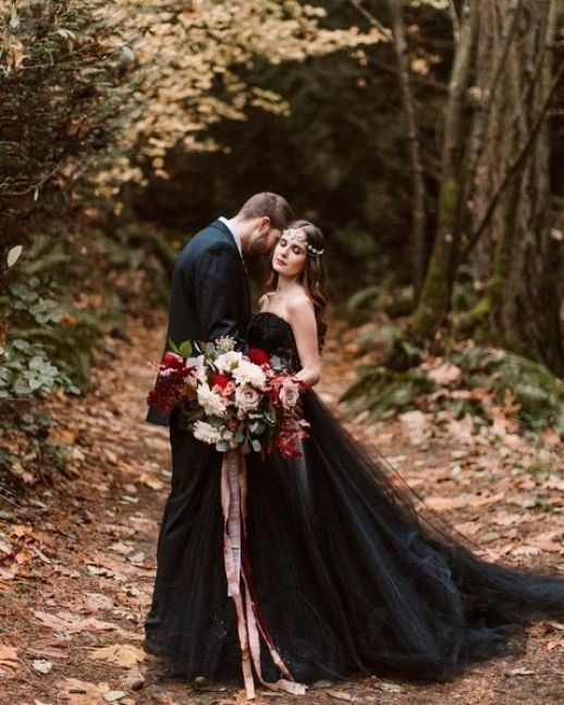Dark Black, Non-white wedding dress for the bold bride.