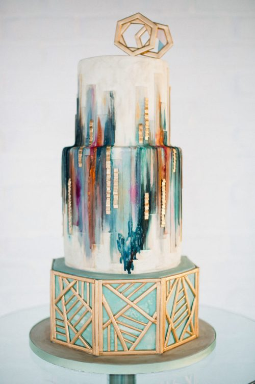 Olofson Design Urban Geometric Wedding Cake