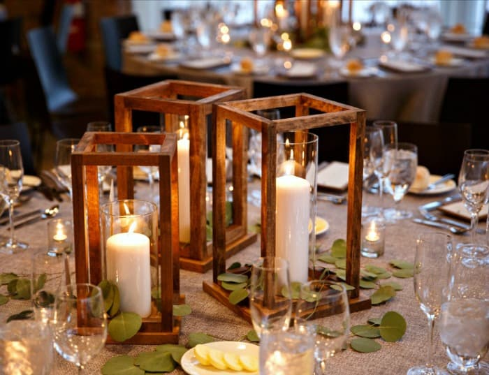 Jaime Costilglio DIY Wood Lantern Centerpieces