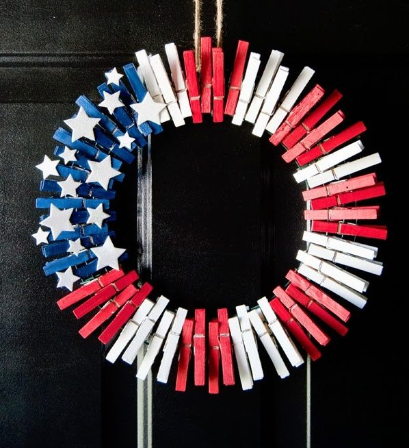4th of July Decorations Clothespin Wreath