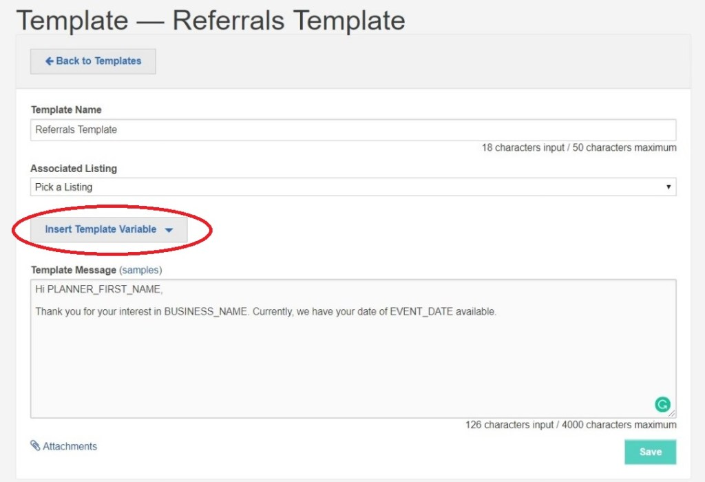 Insert Variables on Referrals Templates
