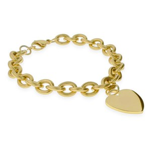Gold plated tag link bracelet, customizable jewelry under 100