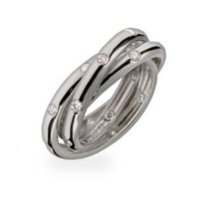 Custom trio sterling silver cz band ring