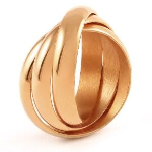 Engraveable rose gold 3 ring set