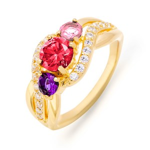 Mom rings with birthstones gold three stone ring