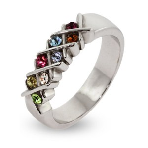 8 stone birthstone ring for mom, mom rings with birthstones