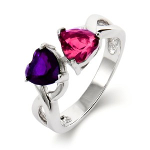 Mom ring with birthstones 2 stone birthstone heart ring